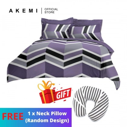 Ai by AKEMI Loveall - Comforter Set 580TC (Zelor Purple) [Free 1 Neck Pillow (Random Design)]