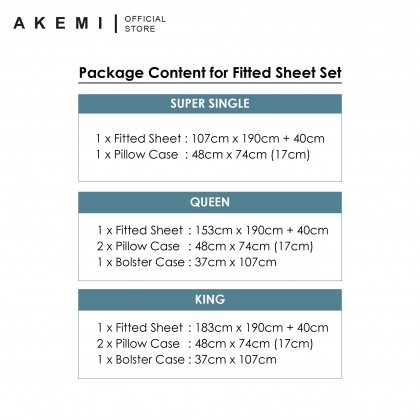 AKEMI Cotton Select Fitted Bedsheet Set - Adore 730TC (King/Queen/Super Single)